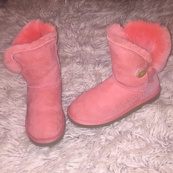 d2624964cd52 UGG Shoes | Coral Pink Button Floral Design Classic Boots | Poshmark